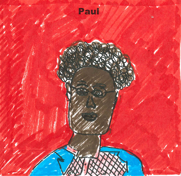 Independent fostering agencies worker Paul - An employee of Fostering Dimensions drawn by a foster child