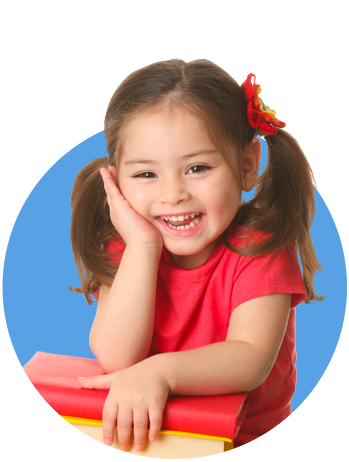 Little foster girl leaning on some books smiling with a blue circle icon behind her